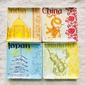 PIER 1 IMPORTS Asian City Plate Set of 4 PORCELAIN